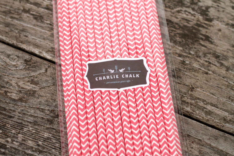 25 Bubble Gum Pink Chevron Paper Straws Baby Shower Girl, Birthday ...