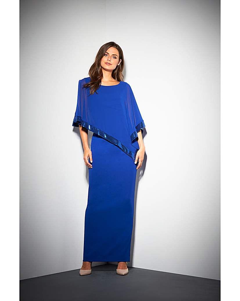 Gina bacconi tiffany cape maxi dress products pinterest