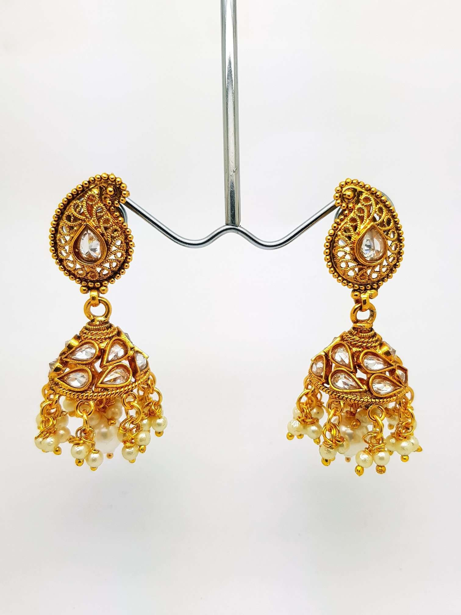 Find this amazing Reverse Stone Medium Jhumki Earrings - Bollywood - Fancy Dress - KAJ578TP 0918 online or at our shop in Tooting, London. This Reverse Stone Medium Jhumki Earrings - Bollywood - Fancy Dress - KAJ578TP 0918 is sure to win your heart. At only £14.00, this item is an absolute steal! Buy now at Prachy Creations!  Ideal for all occasions such as weddings and Bollywood parties. We source these earrings from a very reputable wholesaler in Mumbai. They have been trading in Indian fashio