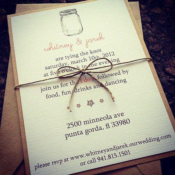 Mason Jar Wedding Invitations Tying the knots Jars and Wedding