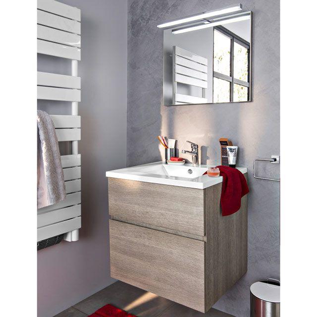 Meuble De Salle De Bains Calao 60 Cm Chene Clair Vasque En Resine Blanche Single Vanity Bathroom Vanity Vanity