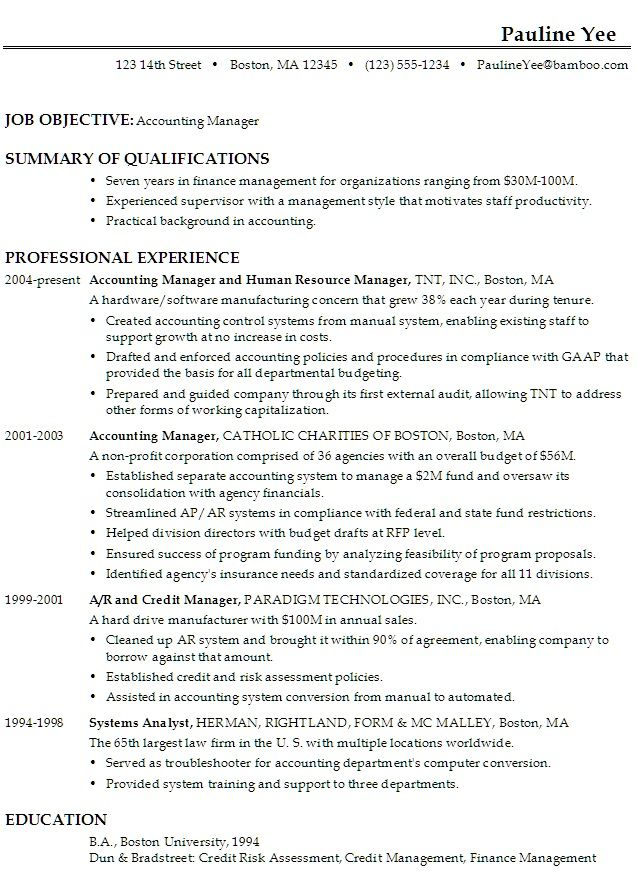 Accounting Manager Resume Sample -    topresumeinfo - credit manager resume