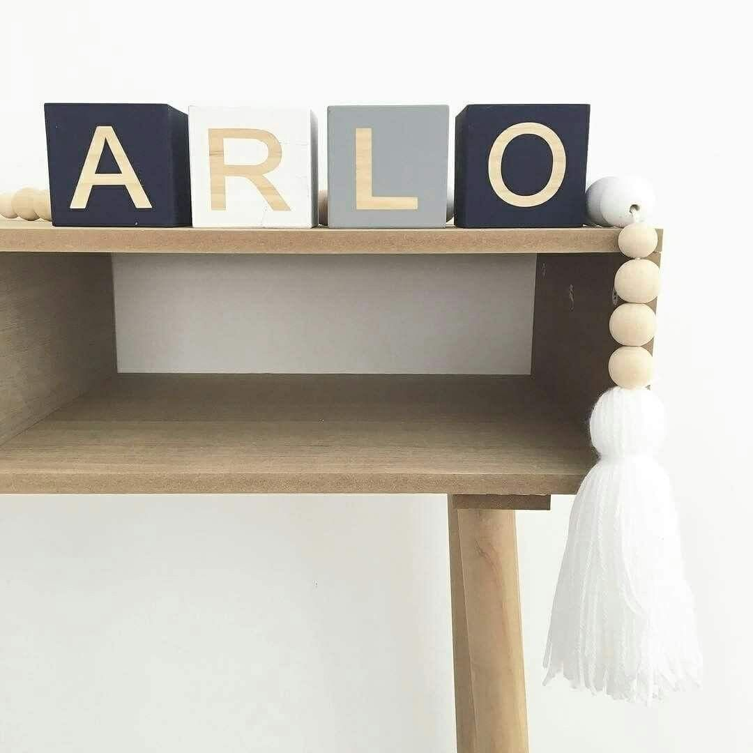 The Perfect Shelf Decor Our Por Navy White Grey Letter Blocks Abbie Lulham