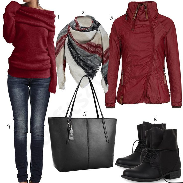 Wine Red Women's Outfit with Sweater and XXL Scarf (w0671