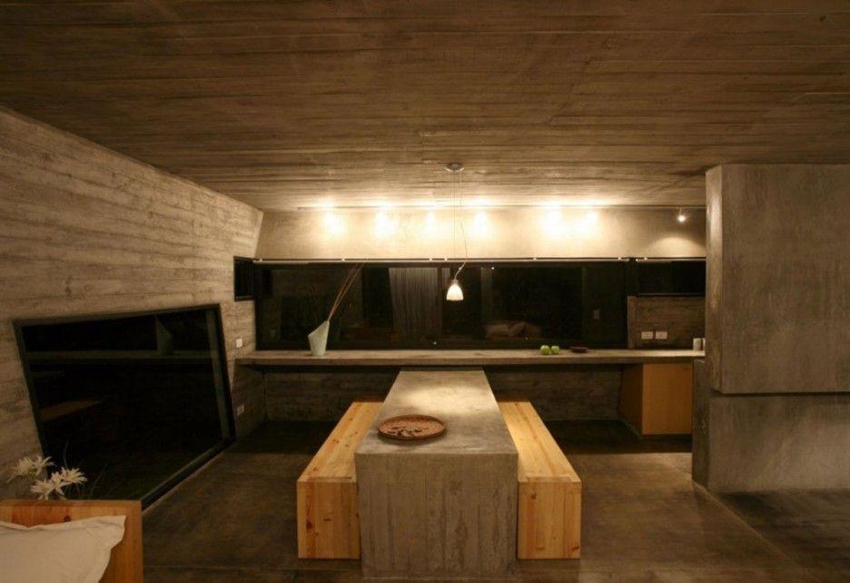 Gorgeous Modern Concrete Interior Icf Home Plans Design With Minimalist Wooden Interior And Bench Furniture Deco Concrete House Concrete Interiors Plans Modern