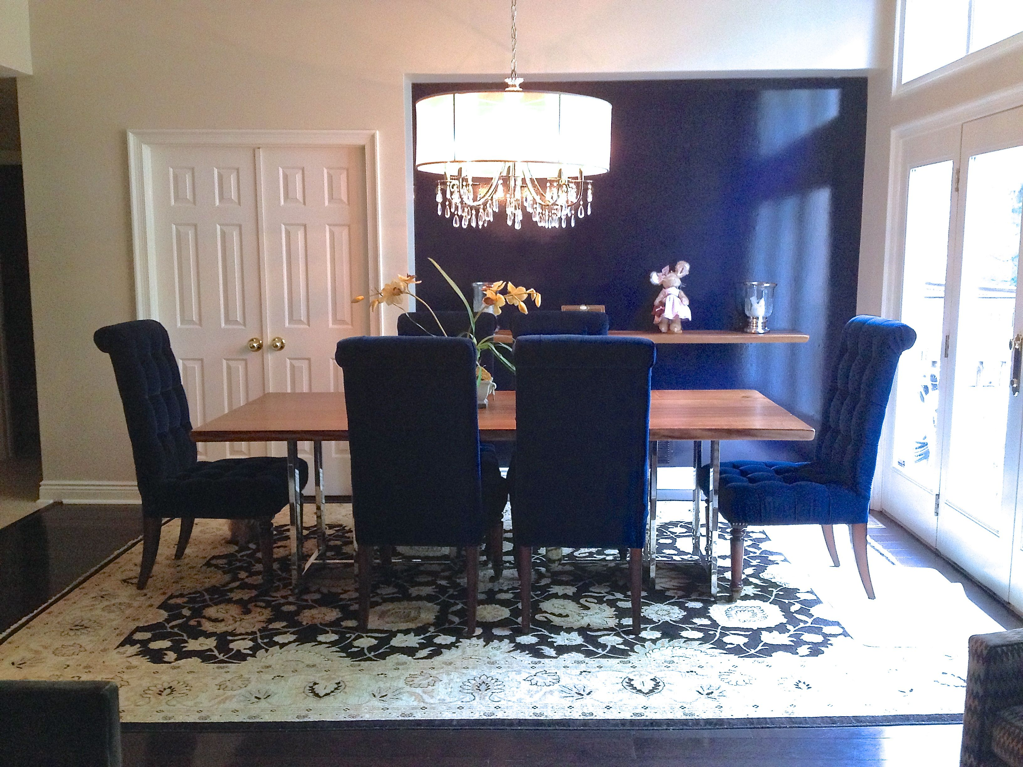 Navy Blue Dining Room With Comfy