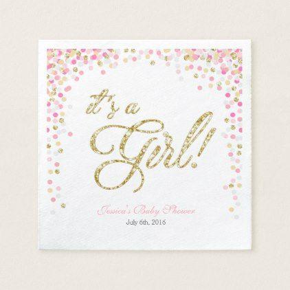 Girl Baby Shower Paper Napkin Pink Gold Confetti - #gold #glitter - confeti