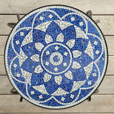 Shira Blue And White Mosaic Accent Table Mosaic Accent Table