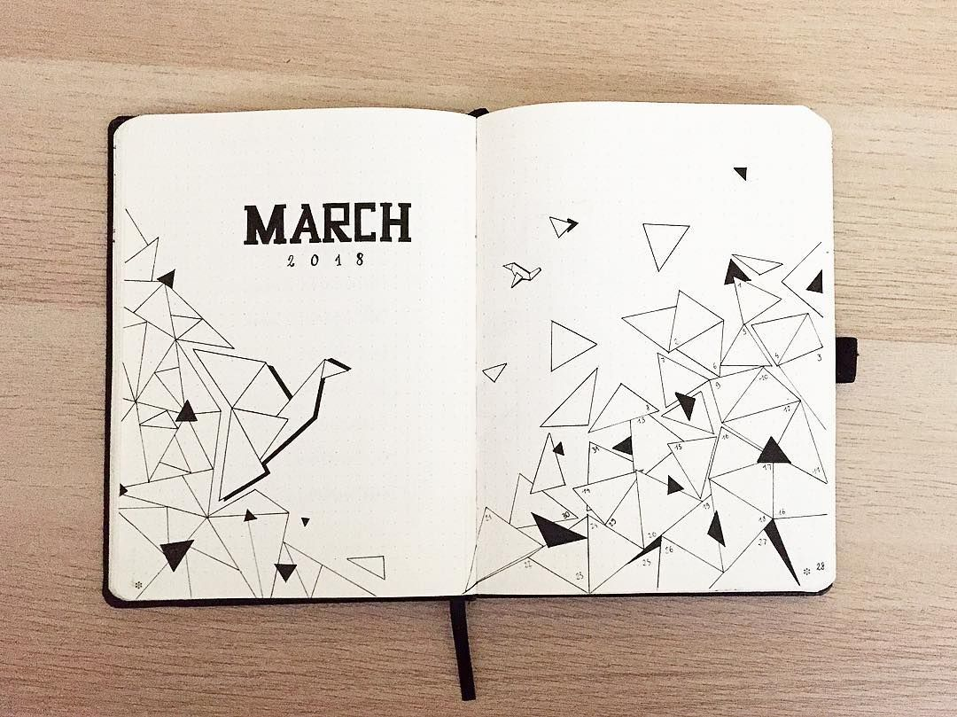 bullet journal monthly cover page march cover page geometric designs flake