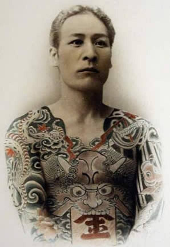 Old photograph of body suit tattoo from Hori Chiyo ~ A legendary Japanese tattooist Hori Chiyo (代, 1859-1900) earned his reputation through the connection with the Royal tattooing.........PARTAGE OF JUST LOVE JAPAN ..........ON FACEBOOK..........