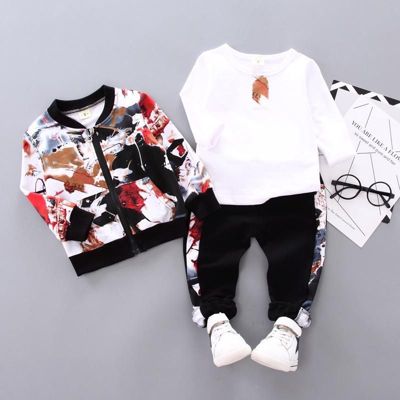 Baby Boys Spring Fall Print Set 0 1 2 3 Year Old Boy Handsome Autumn Winter Clothes Three Piece Children S Clothes Fashion Kids Winter Outfits Kids Fashion Clothes Childrens Clothes