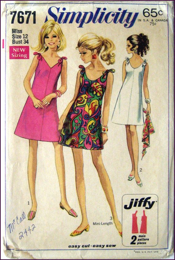 Vintage 1968-MINI MOD DRESS-Sewing Pattern-Three Styles-Very ...