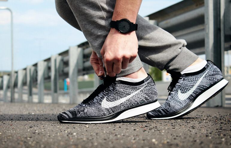 da09effd1a429   70 TO GET 2015 New Arrival Nike Flyknit Racer Top Quality Limited Edtion  Hot Selling OREO   2.0 Dark Grey White-Black 526628-010 Size Euro 36-44 US  5.5- ...