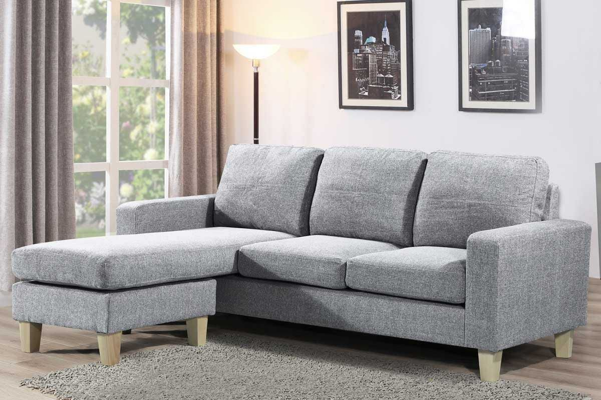 Admaston Compact L Shaped Corner Sofa Settee Grey Fabric Upholstered Crazy Price Beds