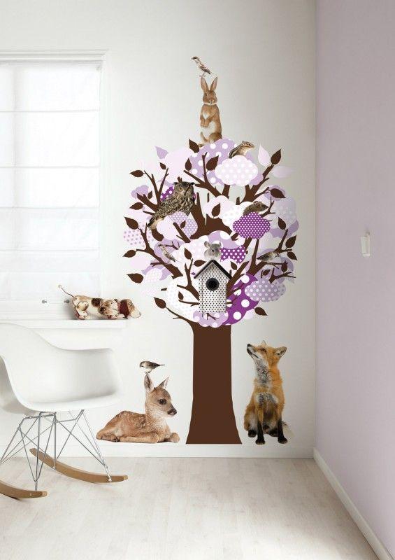 Fesselnd Baum Wandsticker Mit Fotorealistischen Waldtieren