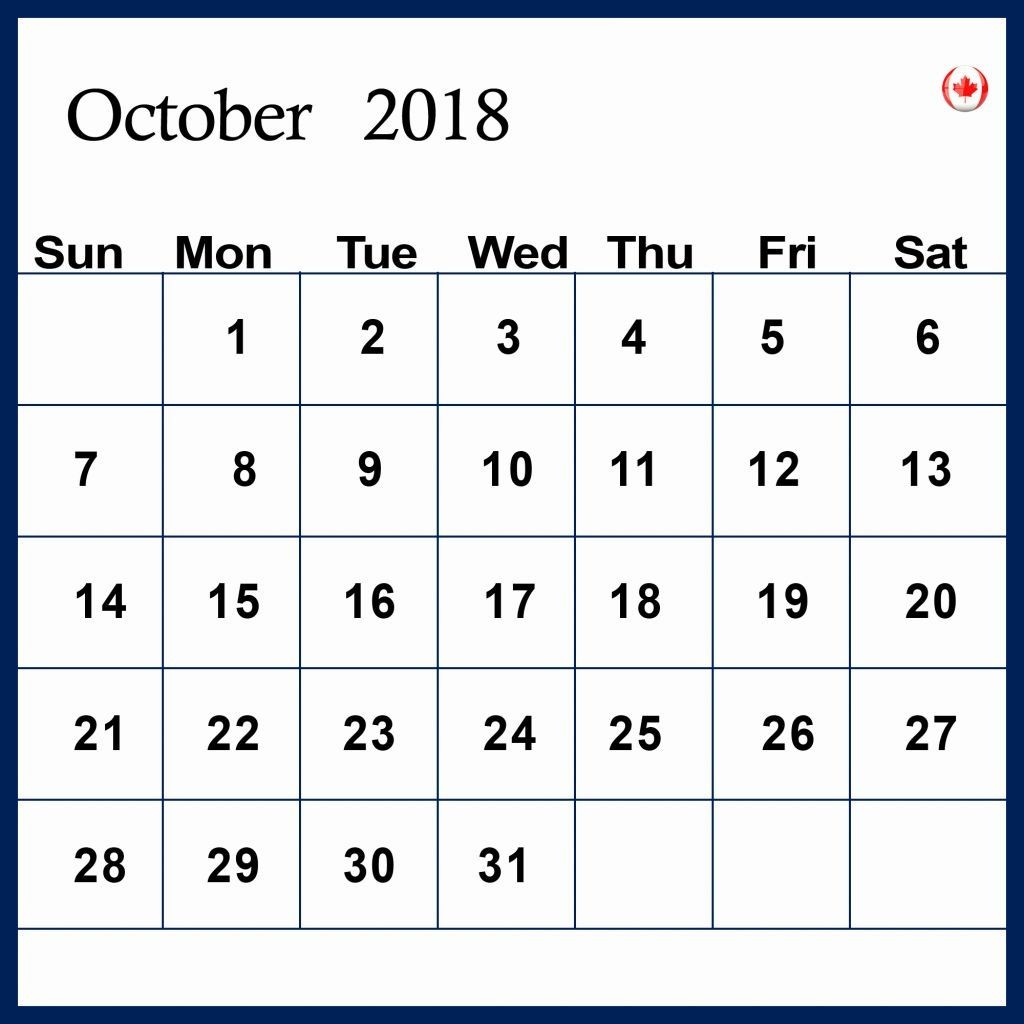 october 2018 calendar canada with reminders