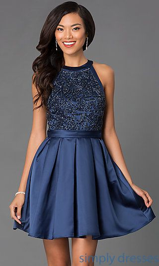 5b59b03ab0d Short Fit and Flare Beaded High Neck Dress