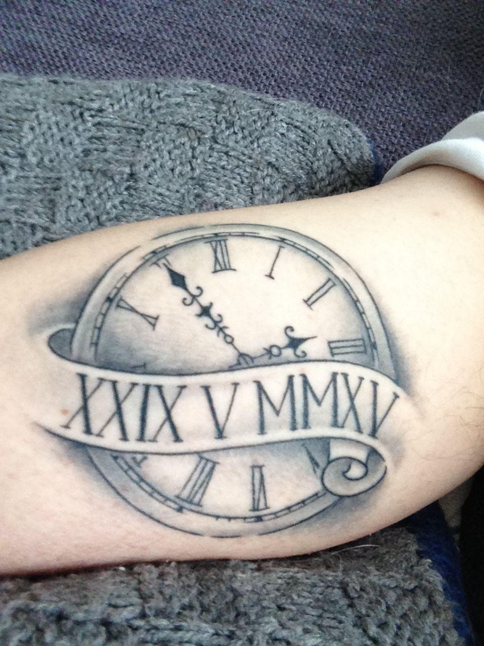 My Clock Tattoo With Birthdate Of My Son Tattoos For Kids Tattoo For My Son Clock Tattoo