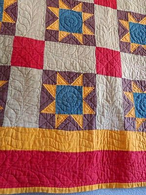 Antique Handmade Early 1900s Amish Star Quilt Beautiful Colors and Quilting | eBay, i_spy_design ebay.com