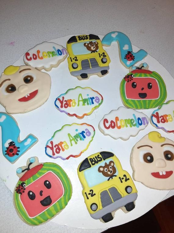 Cocomelon inspired decorated cookies. Set of 24
