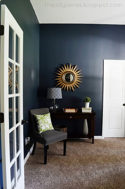 Dark Navy Blue Wall Color And Brown Carpet Combo