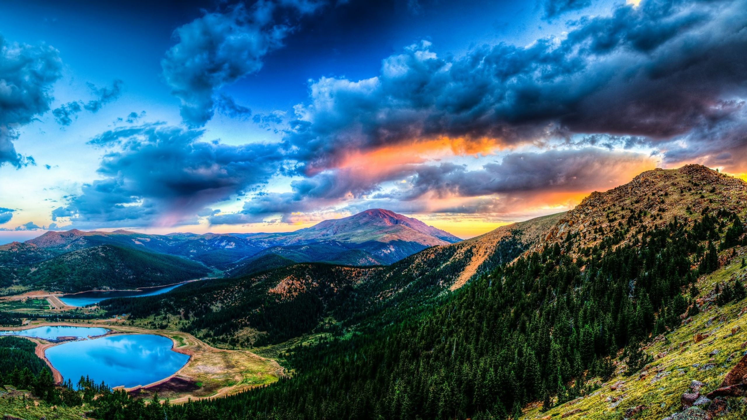 2560x1440 Wallpaper sunset, mountain, lake, landscape