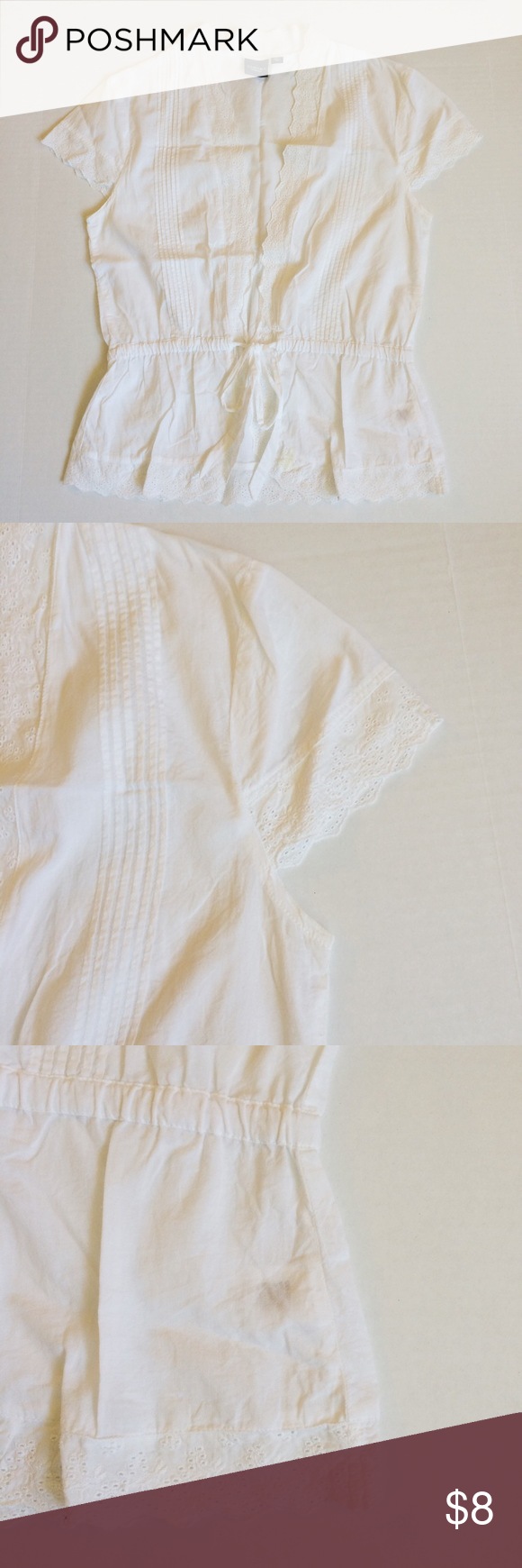 White front tie shirt White top in excellent condition.  100% cotton with a feminine look and ties in front.  Sweet lace detail at cap sleeve and at bottom hem. Sonoma Tops