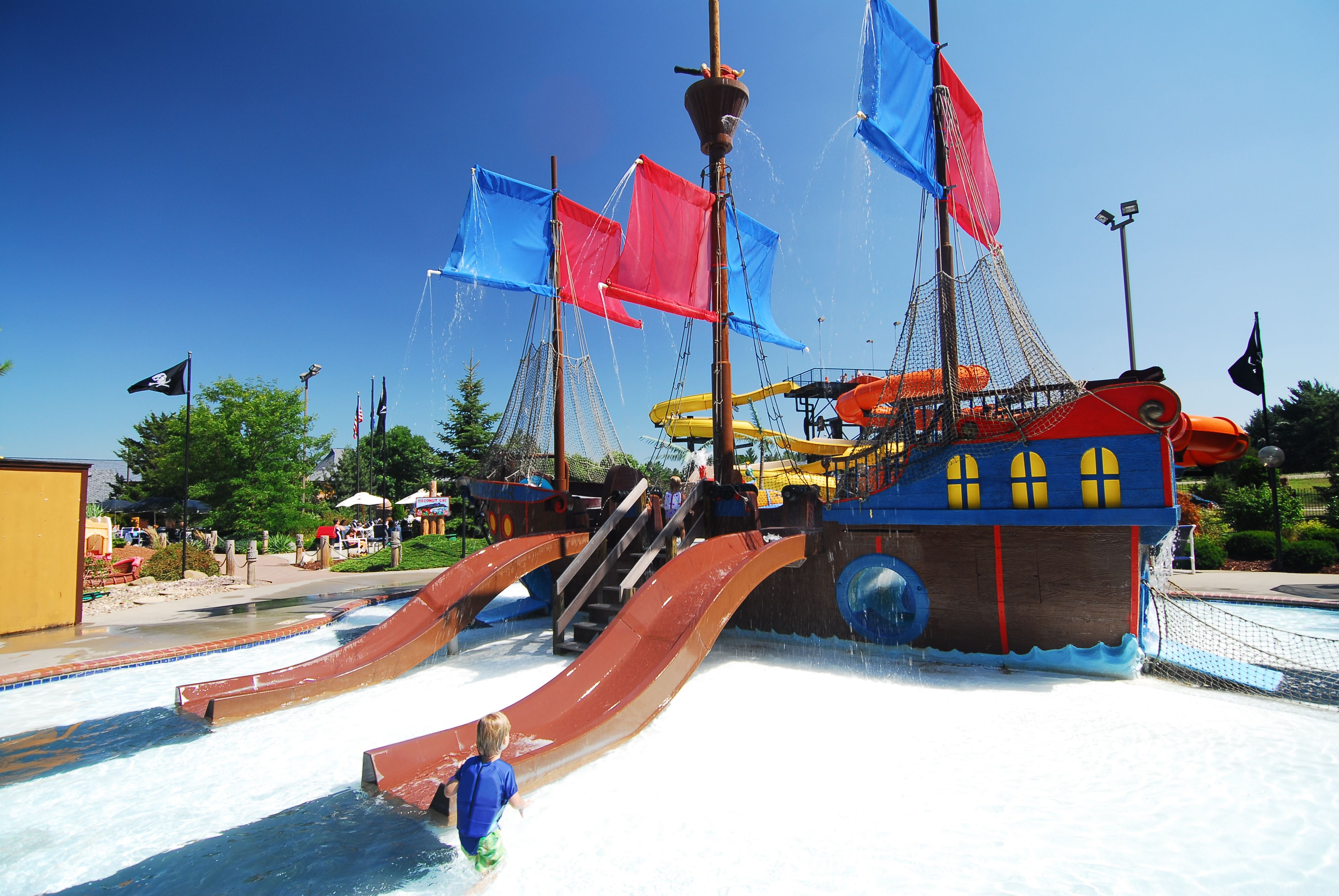 all aboard the pirate ship for some water filled fun at the polynesian hotel in wisconsindells