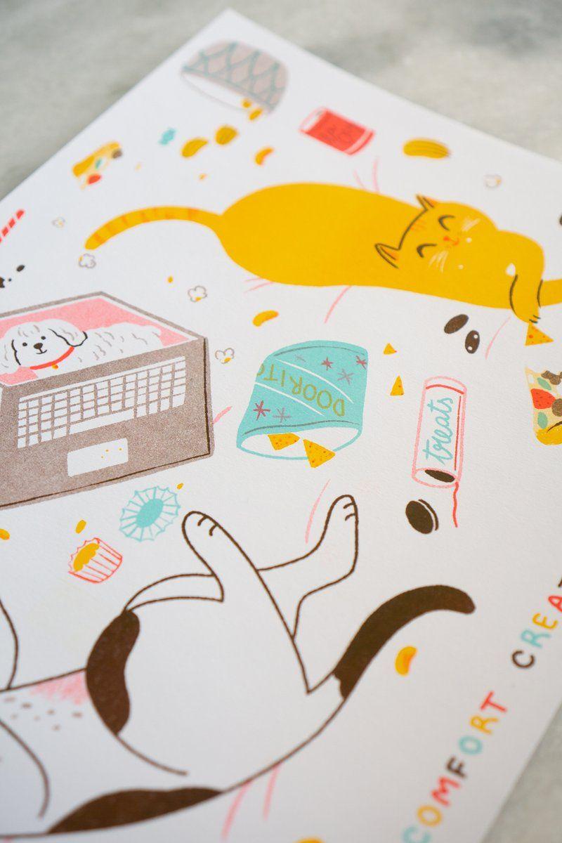 Comfort Creatures Riso Print 11 X 17 Risograph Print Riso Print Risograph