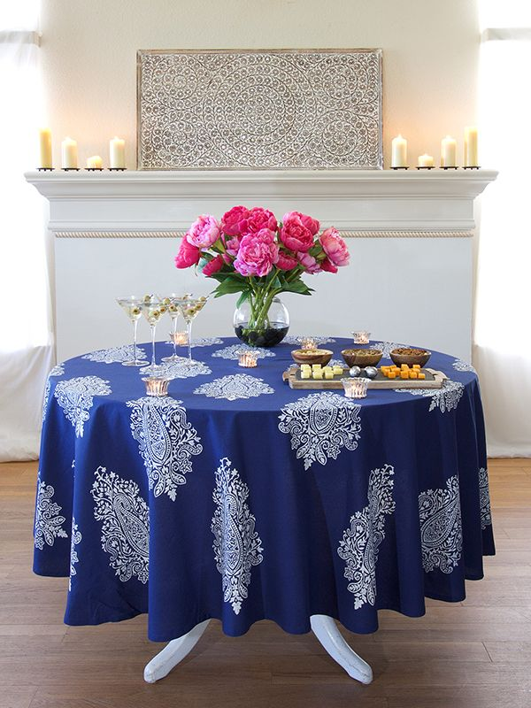 Modern Navy Blue White Paisley ROUND TABLECLOTH: Stunning, Sophisticated  And Uniquely Global, Our