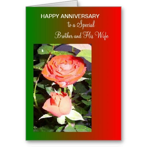 Rose Brother And Wife Wedding Anniversary Card Zazzle Com Wedding Anniversary Cards Anniversary Cards Wedding Anniversary