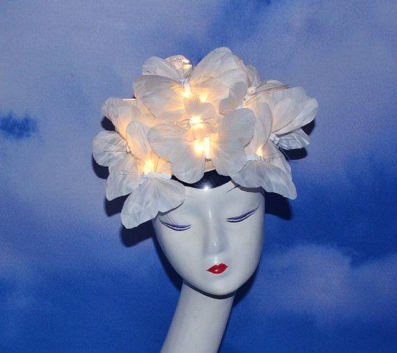 9f260951 LIGHT UP White Feather Butterfly Fascinator Hat Hatinator Headdress ...