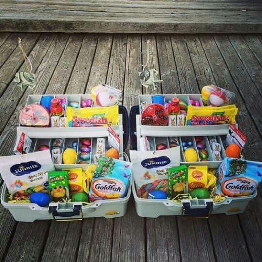 Tacklebox easter basket easter pinterest easter baskets made these tackle boxesbaskets has gummy worms goldfish crackers and swedish fish added some easter candy and plastic eggs in all the compartments negle Image collections
