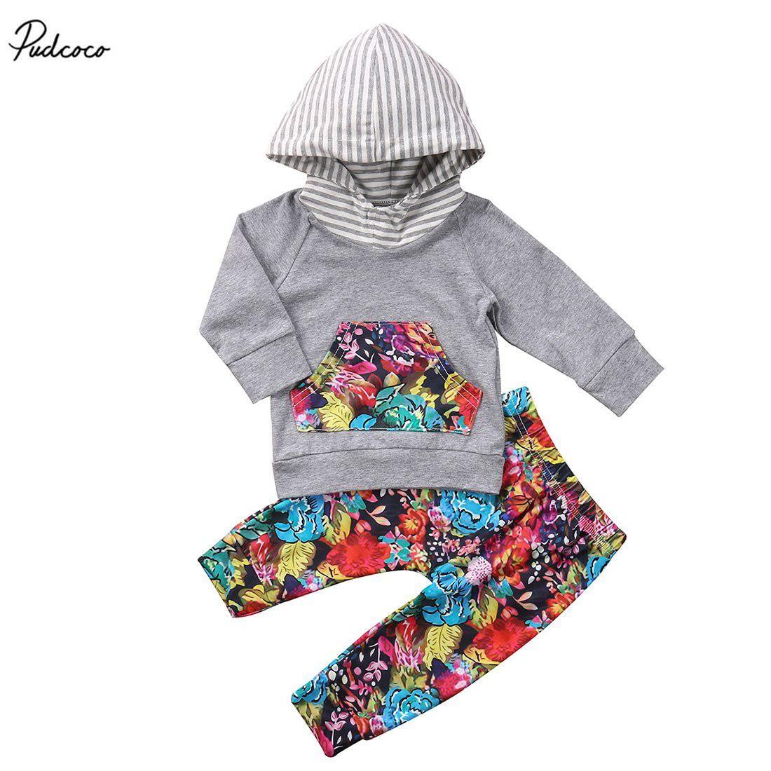 7363ef8fc 2Pcs Newborn Kids Baby Boys Girls Striped Hooded Long Sleeve Floral ...