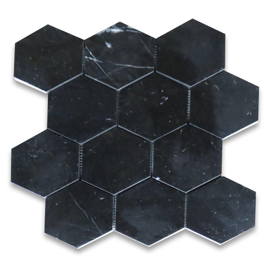 Nero Marquina Black Marble 4 Inch Hexagon Mosaic Tile Polished Hexagon Mosaic Tile Mosaic Tiles Tiles