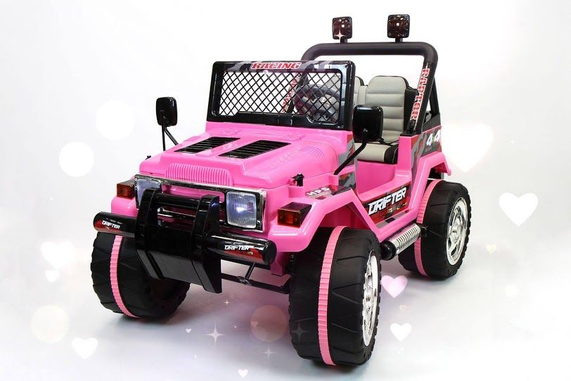 Pink Jeep Wrangler Kids Ride On Car Battery Powered Wheels