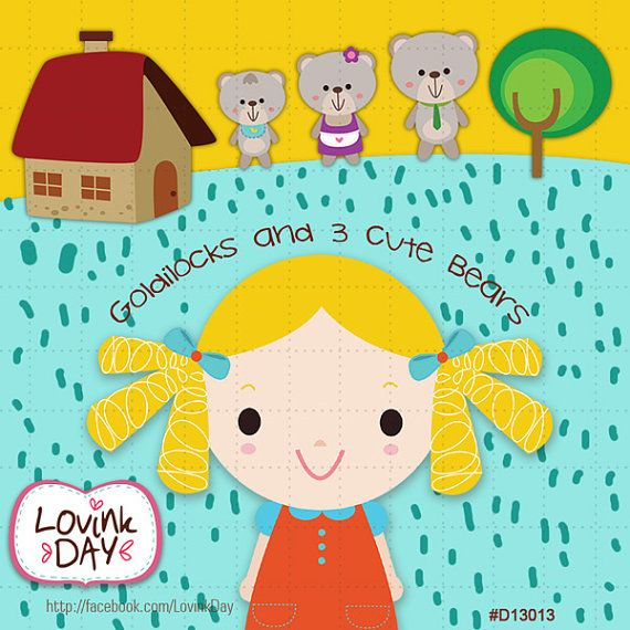 Goldilocks and 3 Cute Bears Clip Art Set D13013 | Clip art, Nursery ...