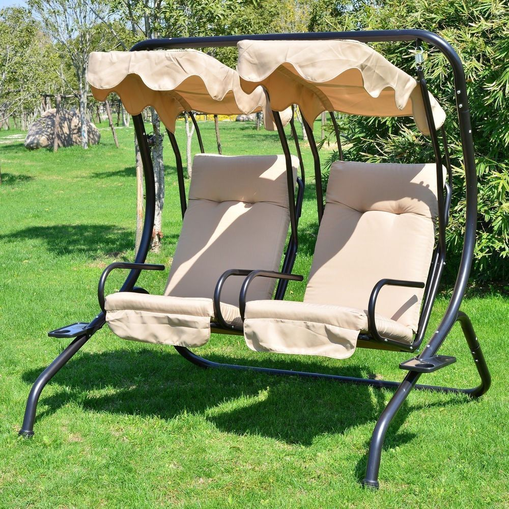 Outdoor Chair 2 Seat Patio Covered Porch Loveseat Hammock W Canopy Outsunny