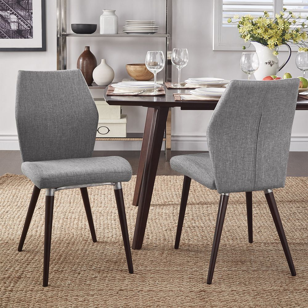 Homevance Lindholm 2 Pc Scandinavian Angled Dining Chair Set In 2020 Dining Chair Set Dining Chairs Linen Dining Chairs