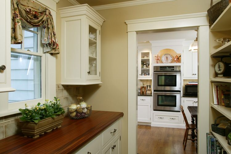 Butler's pantry with African Mahogany counter.