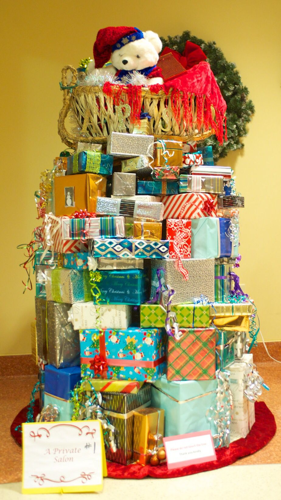 Christmas Tree Made Out Of Christmas Presents Gift Christmas Tree