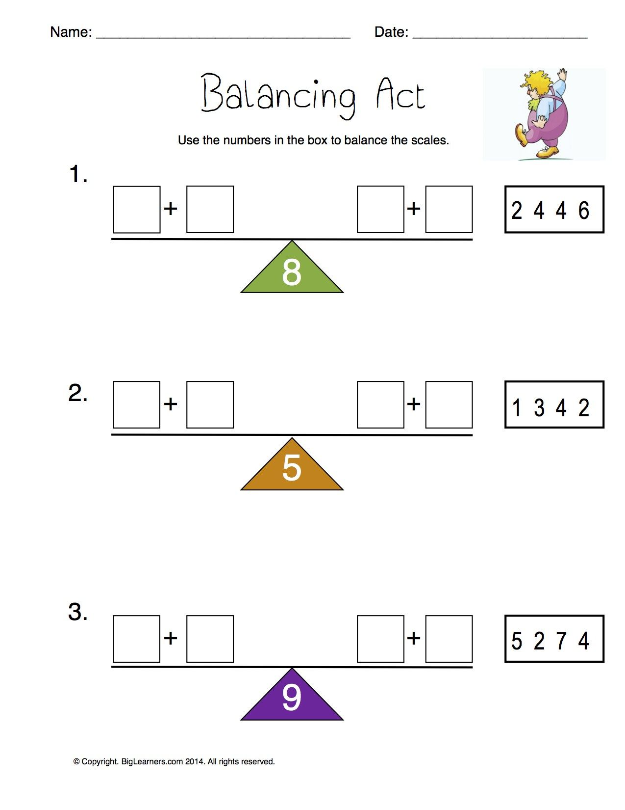 Worksheet Balancing Act Write The Numbers From The Box To Make Each Scale Balance Math Lessons First Grade Math Math