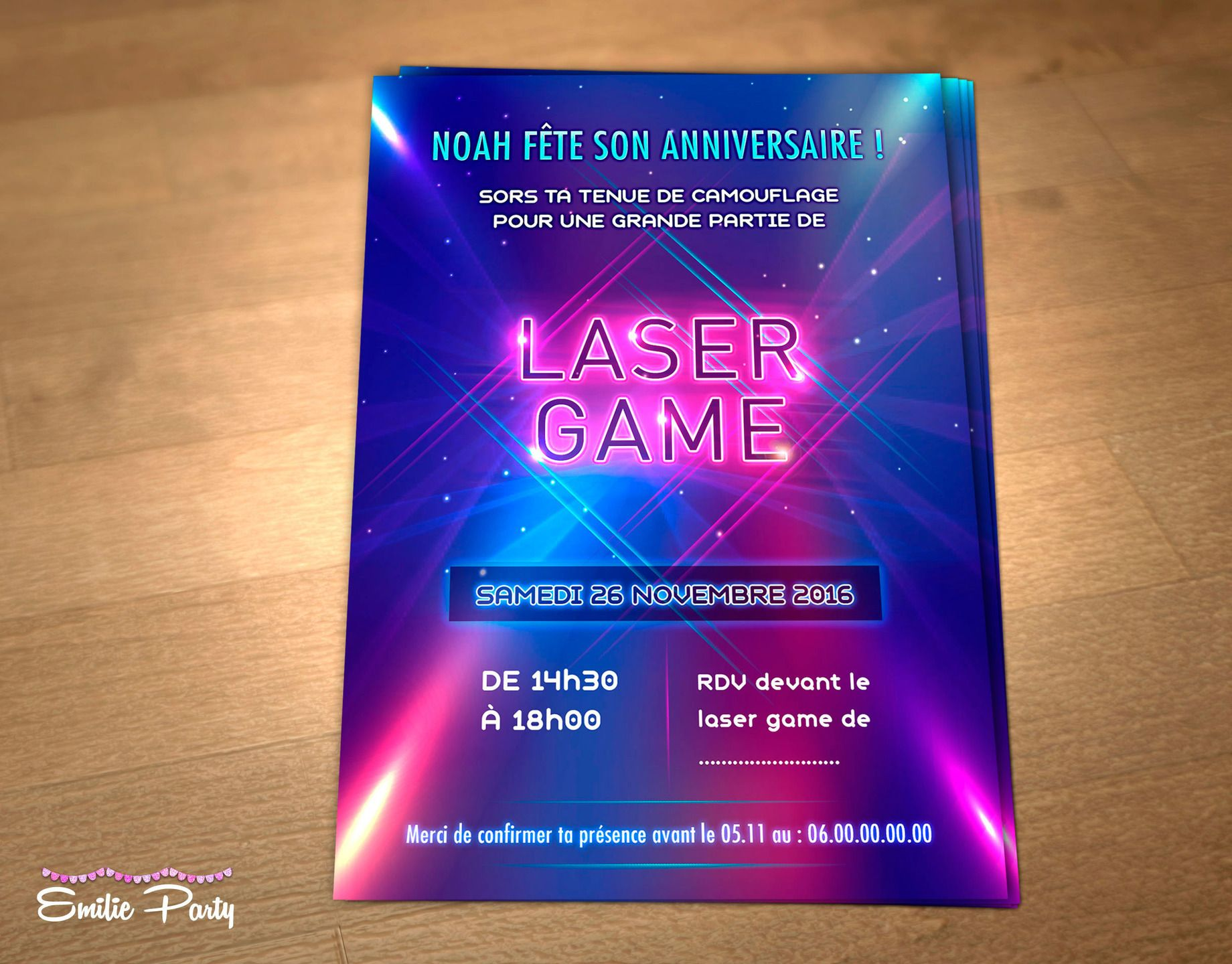 Préférence Personalized printable birthday invitation theme: Lasertag  OC51