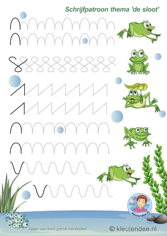 Schrijfpatroon voor kleuters, thema 'de sloot' 1, kleuteridee, preschool pond theme, free printable