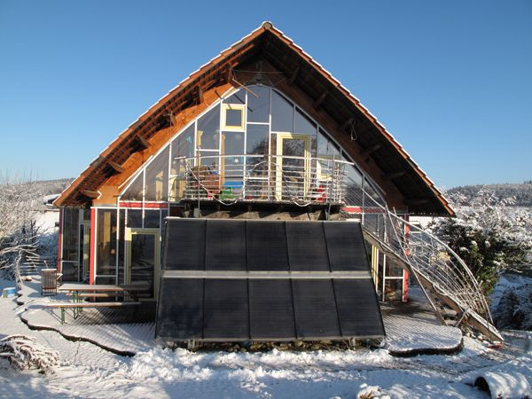 solar collectors  ideal postition, steep, easy to wipe the snow off, very efficient in winter