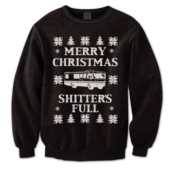 Shitter\u0027s Full Sweatshirt Ugly Sweater Merry Christmas Sweater