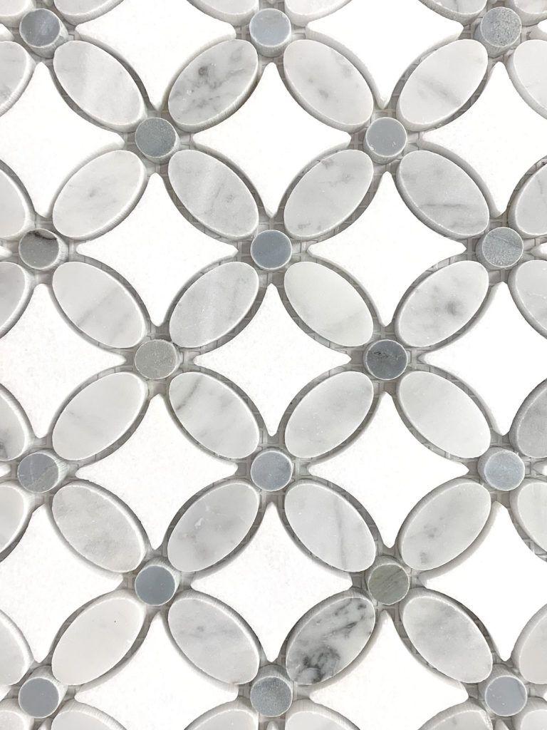 White Gray Marble Flower Mosaic Tile Backsplash Com White Mosaic Tiles Grey Mosaic Tiles Mosaic Flowers