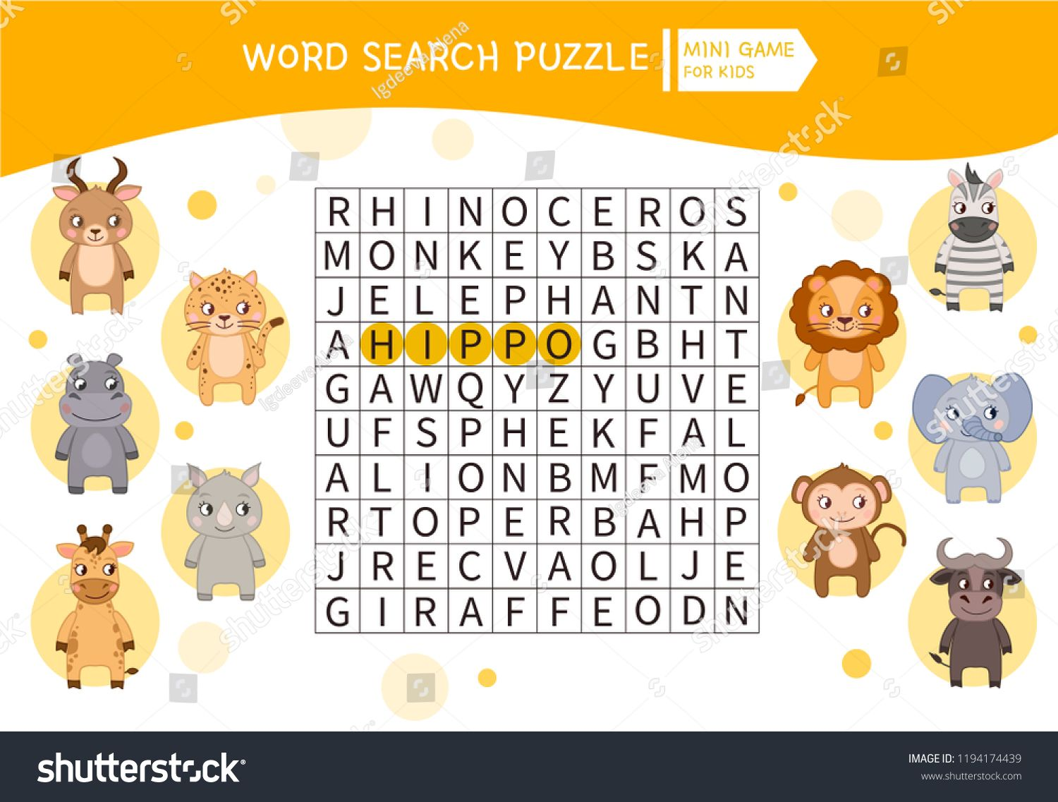 Educational Game For Kids Word Search Puzzle With Cute African Animals Kids Activity Sheet Im Word Games For Kids Activity Sheets For Kids Kids Word Search