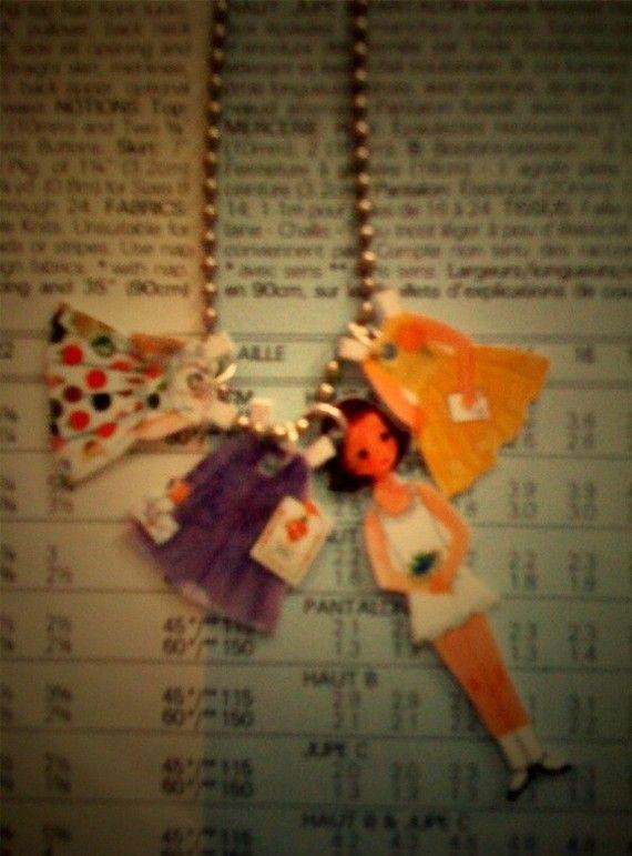 Paperdoll Shrinky Dink necklace