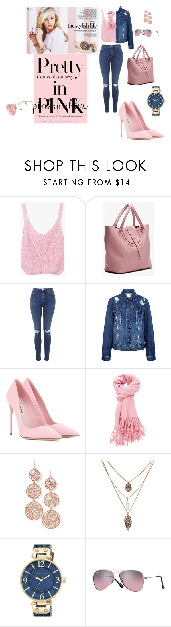 """""""pretty in pink and blue"""" by agnesmakoni ❤ liked on Polyvore featuring Edit, Miu Miu, Anne Klein, Ray-Ban, Etro and yoins"""